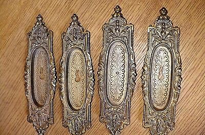 Lot (4) Brass Pocket Door Plates Ornate Skeleton Key 8""