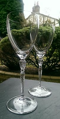"""PAIR of ROYAL DOULTON  CRYSTAL ' OXFORD' WINE GLASSES Signed 8.25"""" high"""