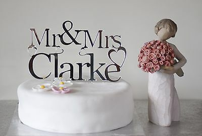 Personalised Silver acrylic mirror Mr & Mrs wedding cake topper