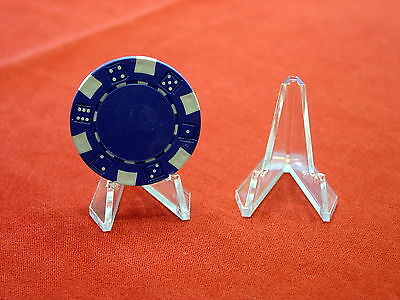 *25 DISPLAY STANDS EASEL Holders Coins Capsules & Poker Chips