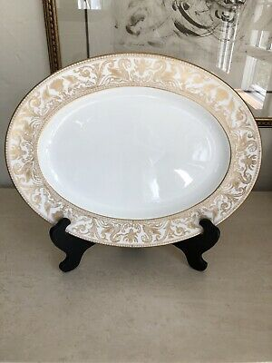 """Wedgwood Florentine-Gold-White Body 17"""" Oval Serving Platter Gorgeous!!"""