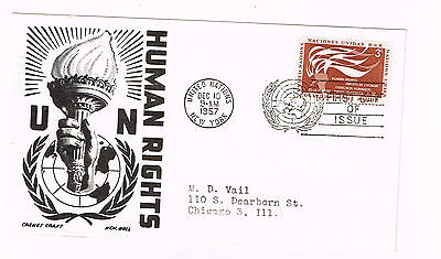 Worldwide Cover Un Cover Fdc 1957 Un Human Rights Addressed Great Cachet