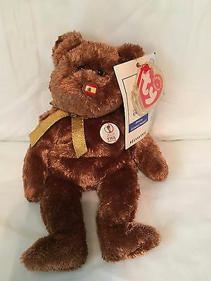 TY Beanie Baby - FIFA World Cup Bear Spain - Pristine w/ Mint Tags-RETIRED