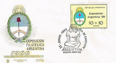Worldwide Cover Argentina Cover 1966 Un-Addressed Fdc Coat Of Arms Semi Postal
