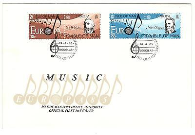 Isle Of Man Cover Fdc Europa 1985 Music,  Non Addressed Music Stamps
