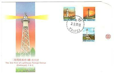 Republic Of China Fdc 1992 Lighthouses Unaddressed China Stamps