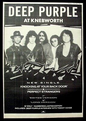 DEEP PURPLE 1985 Poster Ad KNOCKING AT YOUR BACK DOOR knebworth