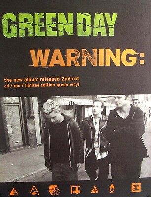 GREEN DAY 2000 Poster Ad WARNING