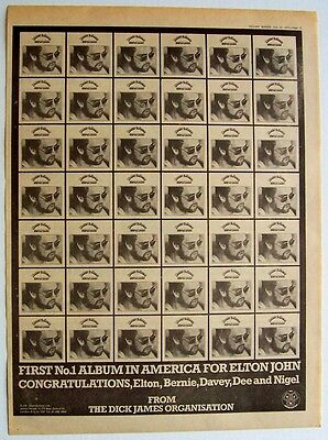 ELTON JOHN 1972 Poster Ad HONKY CHATEAU No.1 IN AMERICA