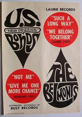 GARY U.S. BONDS THE BELMONTS  1961 Poster Ad NOT ME new orleans SUCH A LONG WAY