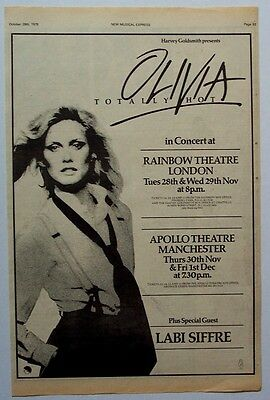 OLIVIA NEWTON-JOHN 1978 Poster Ad TOTALLY HOT CONCERT