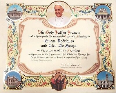Mod 1 Official Personalized Pope Blessing Certificate From Vatican W/ Papal Seal