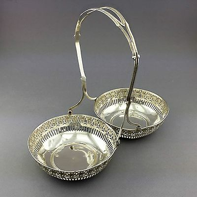 Vintage Webster Co. Sterling Silver Double Candy Dish With Lacework & Flowers