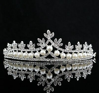 Pearl Austrian Rhinestone Tiara Crown Headband Bridal Wedding Prom Party T11