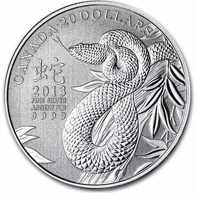 2013 Canada 1/4 oz Silver $20 Coin - Lunar Year of the Snake
