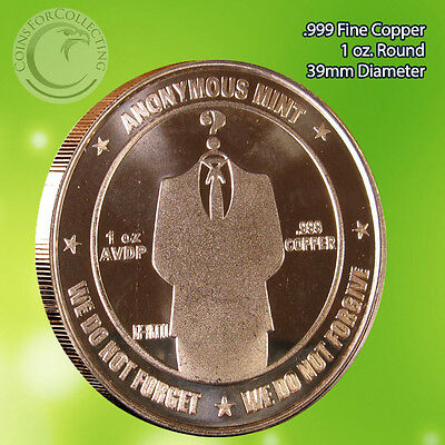 "Bitcoin ""We Do Not Forget"" Copper Round 1 oz .999 Very Limited and Rare"