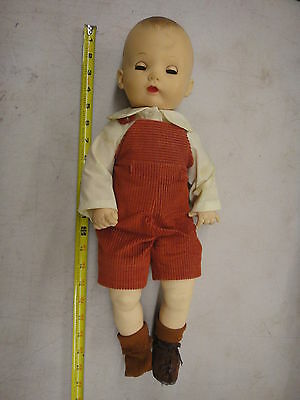 Effanbee baby boy doll in red corduroy overall shorts & shirt outfit