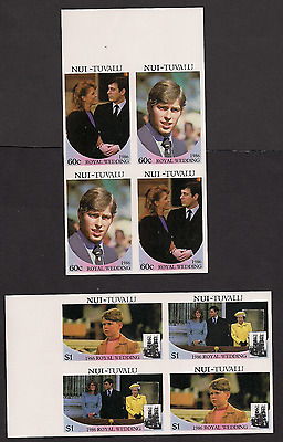 Royal Wedding 1986 Imperf Imperforated Nui 61-4 Tuvalu blocks MNH
