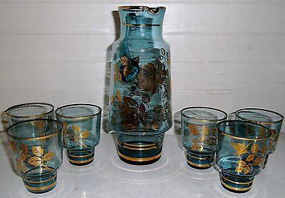 vintage blue bohemian glass JUG with six tumbler glasses