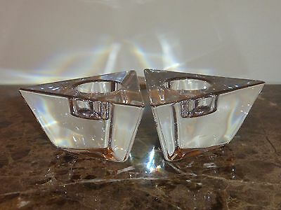 Orrefors Crystal Pair of Candle Votives