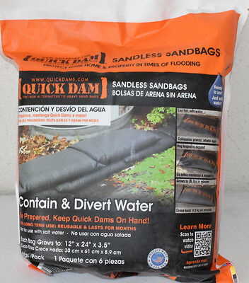 Quick Dam Water Activated Flood Barrier Bags 1ft x 2ft 6 Sandbags QD1224-6ES #2