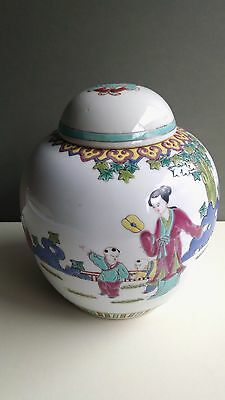 Vintage Chinese Famille Rose Porcelain Ginger Jar Hand Painted Children Playing
