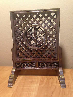 Vintage  Chinese Oriental Carved Wood Panel WITH BIRDS.