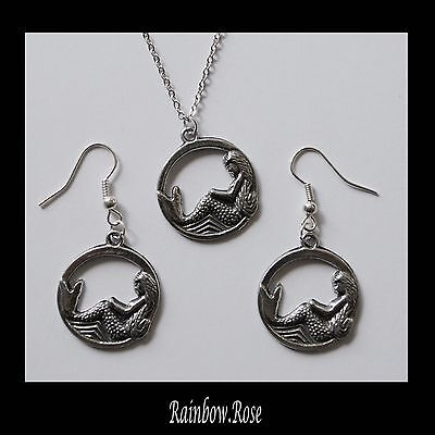 Earrings & Necklace #168 Pewter MERMAID in CIRCLE (22mm) SILVER TONE