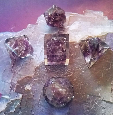Orgone Sacred Geometry 5 Piece Amethyst Crystal Set, Platonic Solids, Reiki