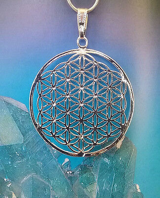 Large Sacred Geometry Silver Flower Of Life Pendant With Silver Chain