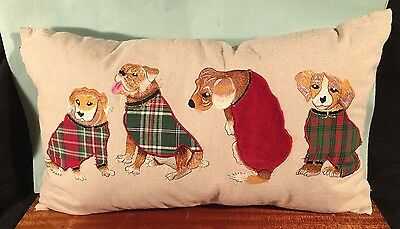 CUTE DOG TAPESTRY PILLOW Beagle pug Pier One 1 Imports couch Christmas throw