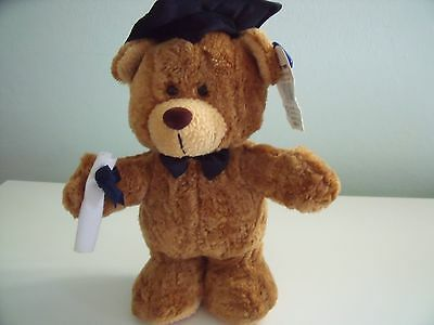 A And A Soft Toy Brown Graduation Bear With Hat And Scroll Approx 10 Inches