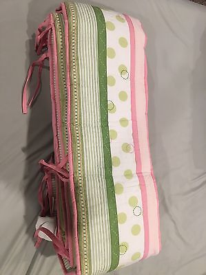 NWOT  Pottery Barn Kids Penelope Nursery Crib Bumpers Pink And Green