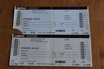 Crowded House Neil Tim Finn / 2x Concert Ticket / Amsterdam 2010 - FREE POSTAGE