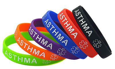 Asthma Medical Alert Wristband Bracelet Silicone