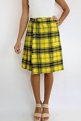 Vintage Retro KINLOCH ANDERSON Yellow Wool Wrap Kilt Skirt with Buckle Size XS-S