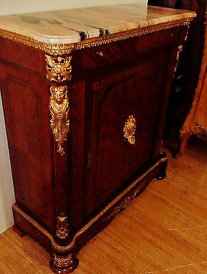 Antique French Louis Style Cabinet Credenza Commode, Figural Ormolu, Inlaid