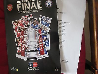 2016-17 FA Cup final - Arsenal  v Chelsea with official Wembley team sheet