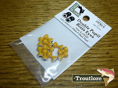 Hareline Double Pupil Brass Eyes Yellow Large - New Fly Tying Materials