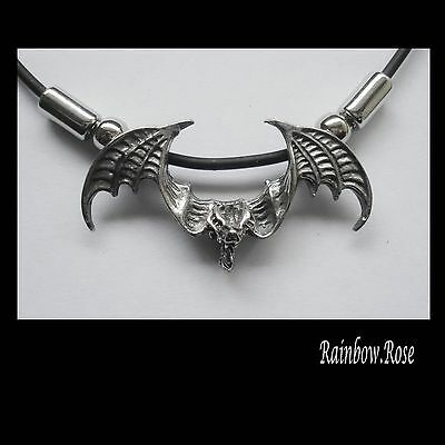 Choker #1249 Pewter BAT WINGS OUT (43mm x 22mm) GOTH Rubber Necklace PENDANT