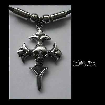 Choker #1241 Pewter SKULL CROSS (40mm x 28mm) GOTH Rubber Necklace PENDANT