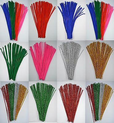 "100 CHENILLE CRAFT STEMS - Pipe Cleaners - 12"" Long - Model Making, Crafts"
