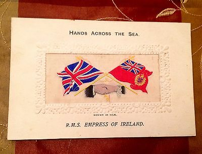 Stevens Silk Postcard Empress Ireland Canadian Pacific Titanic Hands Across Sea