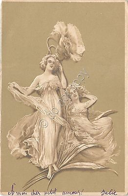 Cartolina - Illustrata - Donnina - Liberty  - in rilievo - 1900 circa