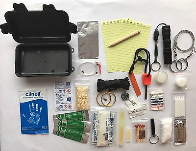 MILITARY STYLE ARMY BASED SURVIVAL KIT in waterproof case, prepping prepper SHTF