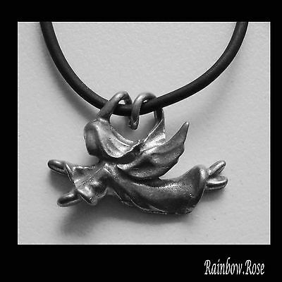 Choker #05 Pewter ANGEL (30mm x 15mm) Rubber Silicon Cord Necklace