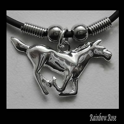 Choker #46 METAL HORSE (35mm x 20mm) Rubber Silicon Cord Necklace