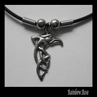 Choker #272 Pewter CELTIC EAGLE (30mm x 20mm) Rubber Silicon Cord Necklace