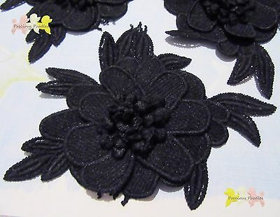 2Pcs  3D Large Flower Lace Appliques 14 x 11cm off Black Gorgeous ..Evening Wear