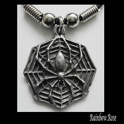 Choker #34 Pewter SPIDER & WEB (30mm x 27mm) GOTH Rubber Silicon Cord Necklace